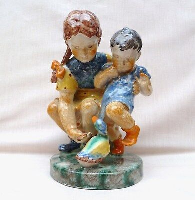 CHARMING GOLDSCHEIDER GROUP FIGURE – CHILDREN FEEDING DUCK C1930s