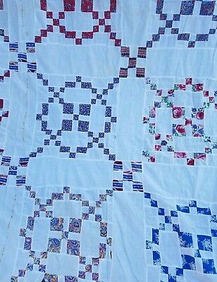 Vintage 1950's (9) Square Quilt Top Feedsack Remnant Fabric QUILT BLOCK 92 x 74