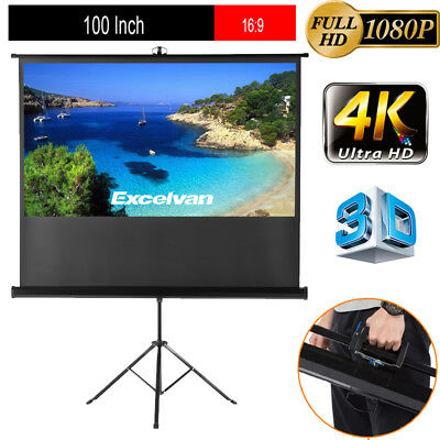 """100"""" 16:9 3D 4K Electric Motorized HomeCinema Projector Projection Screen Remote"""