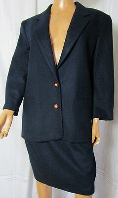 WOOL and CASHMERE TAILLEUR DONNA COMPLETO GONNA + GIACCA TG.46 BLU NOTTE