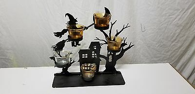 Metal Haunted House 5 Tea Light Candle Holder Halloween Decoration
