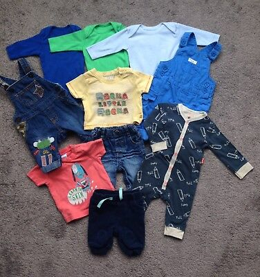 Newborn baby boys NEXT John Rocha bright colourful bundle dungarees vests outfit
