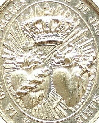 ANTIQUE RELIGIOUS ART PENDANT SACRED HEARTS OF JESUS & MARY by A. CHERTIER