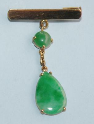 18ct Gold and Jade Brooch Quality Italian Piece 3.19gm