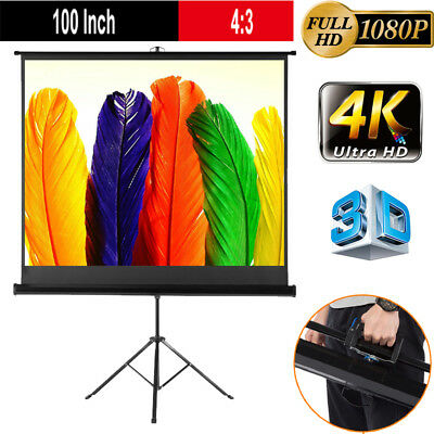 """Portable 100"""" 4:3 Tripod Projection Screen Pull Down Office Projector Cinema UK"""