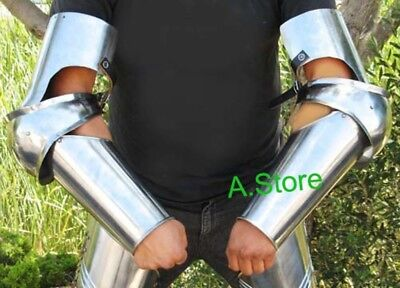 Knight Costume : Medieval Full Length Steel Arm Guard Finish Chorme