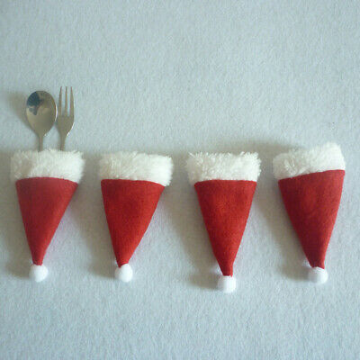 4pcs Set Christmas Santa Hat Wine Champagne Beer Bottle Cover Cutlery Bags