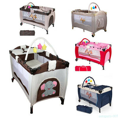 Folding Infant Child Baby Playard Travel Cot Bed Playpen Bassinet Entryway