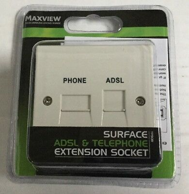 Maxview Tp908 Surface  Adsl& Telephone Extension Telephone Socket