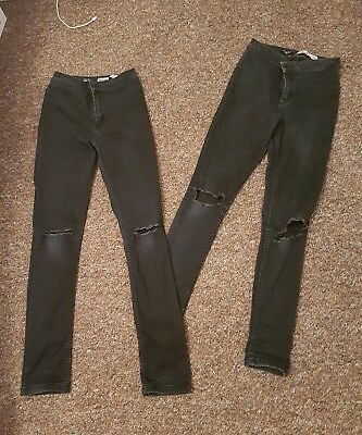 2 pairs of girls high waisted black ripped knee skinny jeans new look age 13