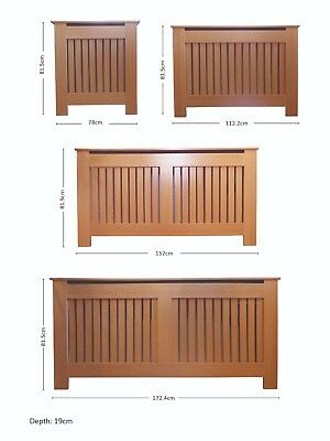 Radiator Cover Modern MDF Wood Grill Cabinet with Vertical Slats - Oak