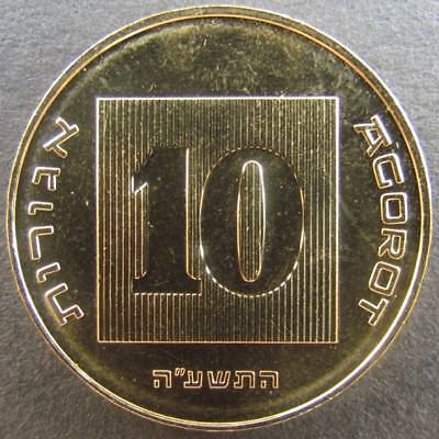 One  Gold Plated Coin Of Ten (10) Agorot From Israel  The Holy Land With Heb