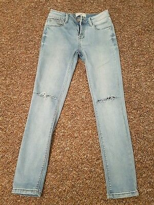 Girls blue ripped knee skinny jeans new look age 12 hardly worn