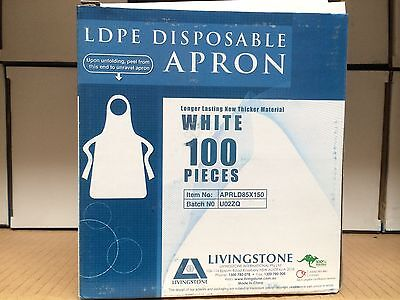 Disposable Aprons White Low Density Polyethylene 10 boxes of 100