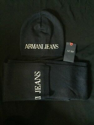 BNWT Navy Blue & Grey Armani Jeans Hat & Scarf Gift Set