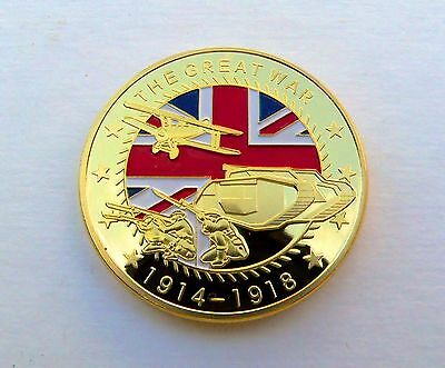 WW1 The Great War 1914-1918 Gold plated coin medal Somme Ypres First World War