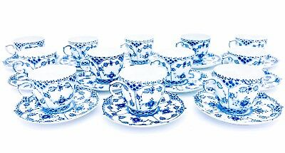 12 Cups & Saucers #1035 - Blue Fluted Royal Copenhagen - Full Lace 1:st Quality