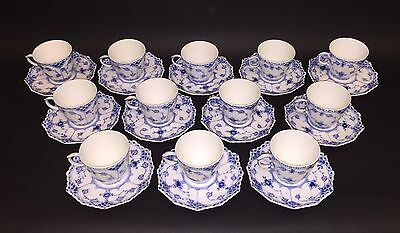 12 Cups & Saucers #1038 - Blue Fluted Royal Copenhagen - Full Lace 1:st Quality