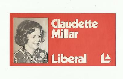 1970's Claudette Miller Liberal Party Canada Election Candidate Information Card