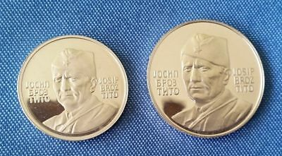 Yugoslavia 1973 Josip Broz Tito -40 Years President,2 Silver coins,medals Proof