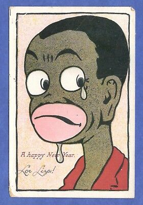 Caricature Of Man With Tear In His Eye Black Americana New Year Postcard 1900s