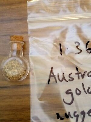 Australian small gold nuggets 1.36 grms inside vial bargain 0.99 starting bid