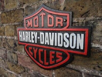 Fabulous Large Heavy Cast Iron Wall Plaque Advertising Sign *motor Harley Cycles