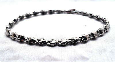 LADIES 10 INCH SILVER HEARTS HEALING  MAGNETIC THERAPY LINK ANKLET: Helps Pain!