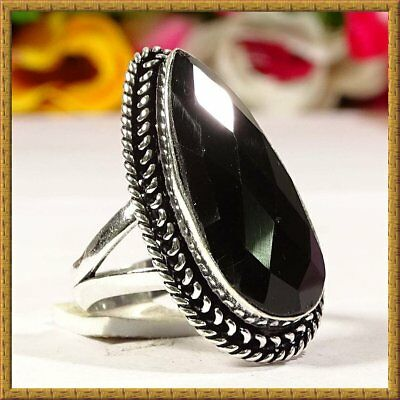 Charming Black Spinel Gemstone 925 Silver Ring S-10.5 36949