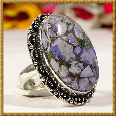 Firing Copper Charoite Gemstone 925 Silver Ring S-8.75 36778