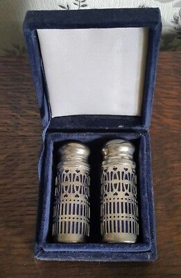A Vintage Cased Silver Plated and Blue Glass Salt and Pepper Shaker