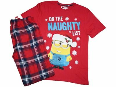MENS MINIONS PYJAMAS ON THE NAUGHTY LIST PJS EX CHAIN STORE despicable me NEW