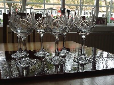 Royal Doulton Cut Glass/Crystal Wine Glasses x 6 VGC (no scratches chips)