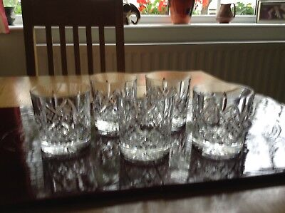 Four x Royal Doulton Cut Glass/Crystal Whiskey Glasses VGC (no scratches chips)