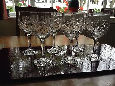Royal Doulton Cut Glass/Crystal Large Wine Glasses x 6 VGC (no scratches chips)