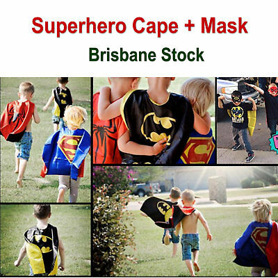 100% Satin Kids Popular Superhero Cape & Mask Boy Girl Party Costume Set