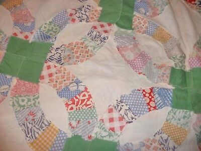 "antique double wedding ring quilt top 80x96"" cotton feedsack fabric large unused"
