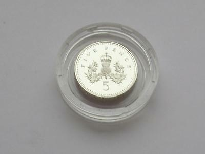 RM Encapsulated Silver Proof Piedfort 5 Pence dated 1990 & COA