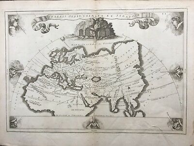 c.1700 MAP OF ANCIENT WORLD BY CELLARIUS ACCORDING TO STRABO AFRICA EUROPE ASIA
