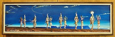 "Raymond Jack Clark - NAVAJO - ""Shalako Dancers"" - Oil on Canvas - 37"" X 9 1/2"""
