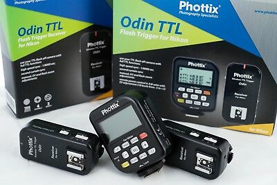 Phottix Odin TTL Trigger 2 x Receivers for Nikon – all boxes, leads and manual