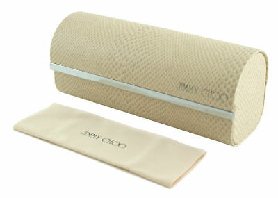 Brand New Jimmy Choo White Hard Pouch Eyeglasses Case Authentic Cleaning Cloth