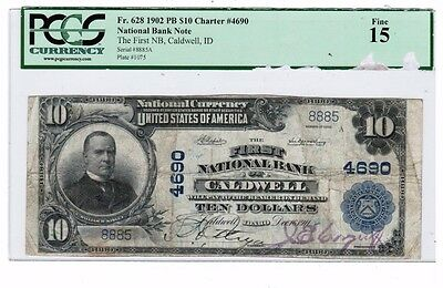 1902 $10 First National Bank of Caldwell Note Fr. 628 PCGS Fine 15 80541790