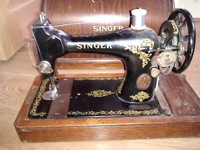Antique Singer Sewing Machine in Wooden case (electric motor and pedal missing)