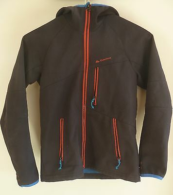 Boys Quechua Decathlon Black Softshell Coat/jacket Fleece Lined Age 10