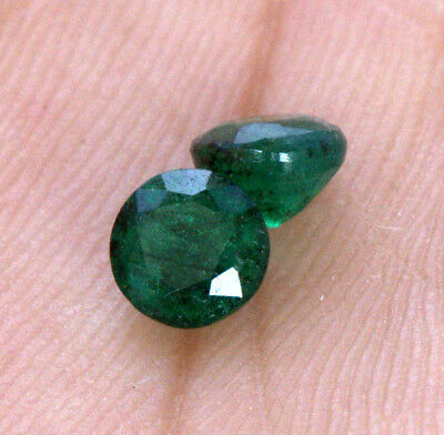 Certified Natural Emerald Round Cut Pair 5 mm 0.99 Cts Green Shade Gemstones