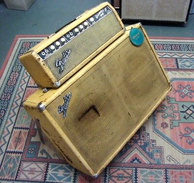 1964 Blonde Fender Bassman Head and Cabinet 6G6B Bassman