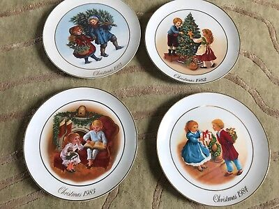 Set Of Four Avon Christmas Memories Collector Plates - 1981,1982,1983,1984