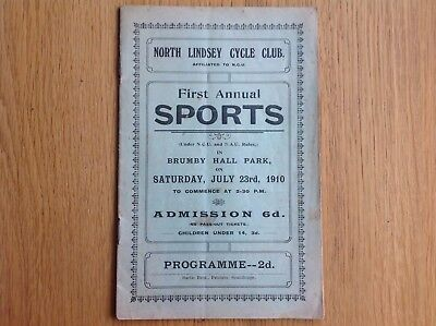 Original 1910 North Lindsey Cycle Club Brumby Hall Park Scunthorpe Programme
