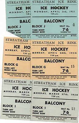 6 Ticket Stubbs For Games At Streatham 1950-1951